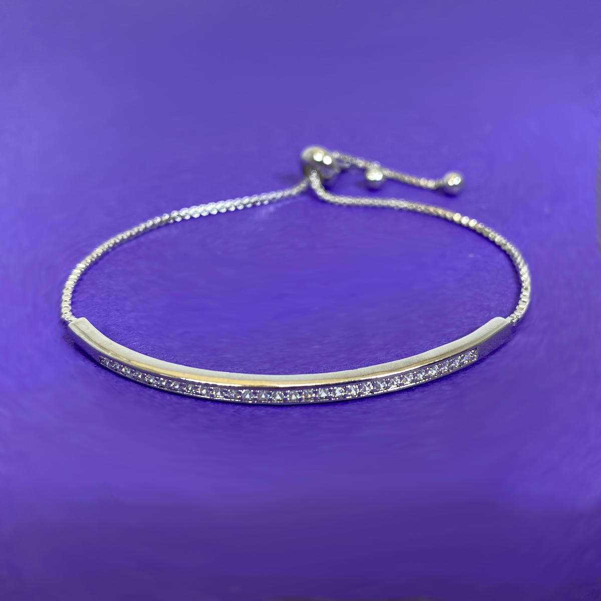 Adjustable Silver Crystal Bracelet