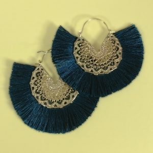 Deep Blue Fringe Earrings with Gold toned Filigree