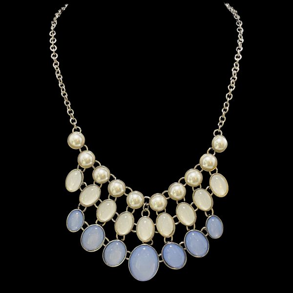 Pearl and Blue Collar Necklace