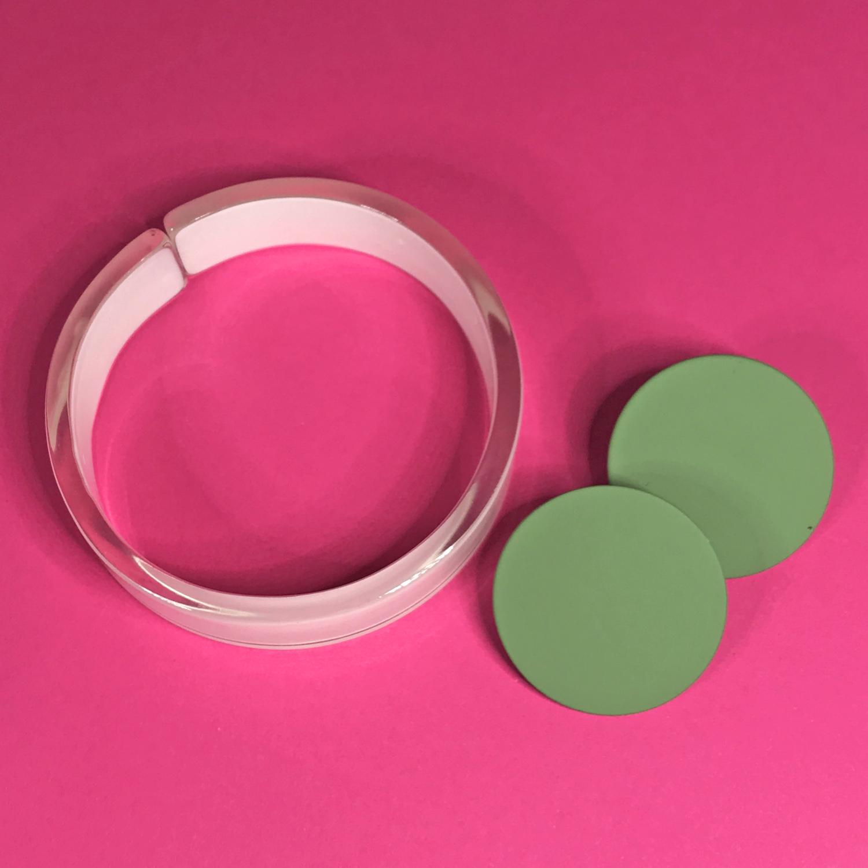 Green Dot and white bangle