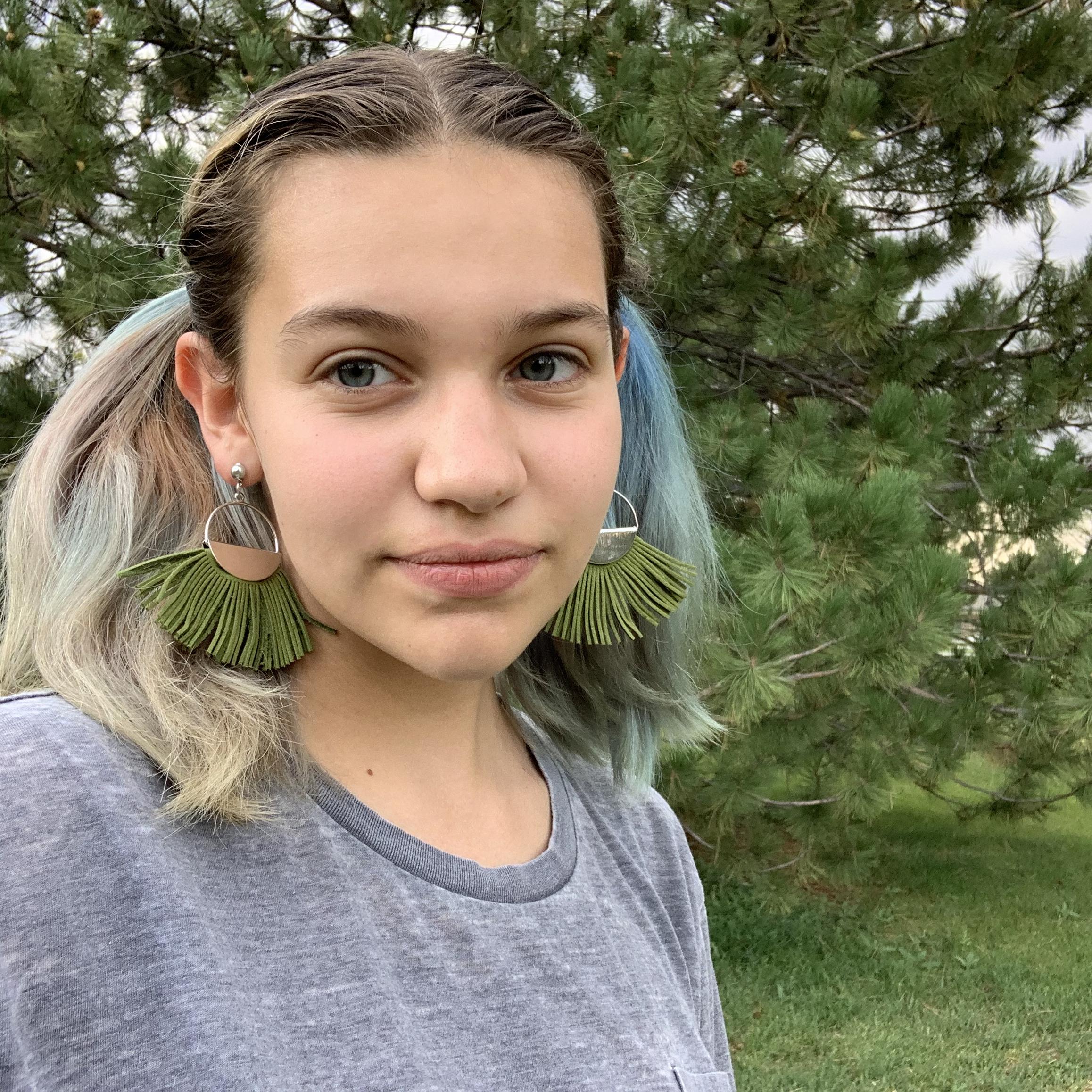 Green Suede Fringe Earrings