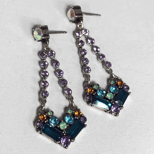 Lavender and green antique drop earrings