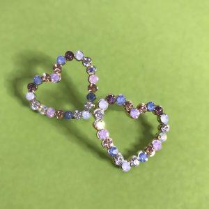 Pastel Crystal Heart Earrings