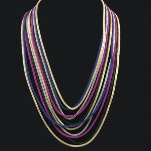Multi-color long chain necklace