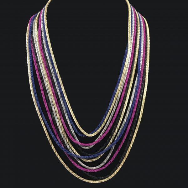Multi-color long chain necklace