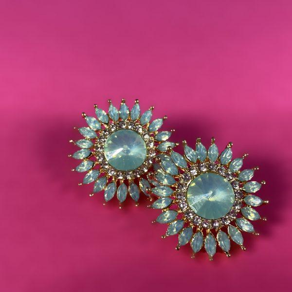 green earrings, stud earrings, studs