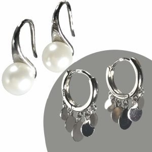 sterling silver earrings, silver earrings, pearl earrings, tiny hoop earrings, hoops, jewelry subscription, jewelry subscription box