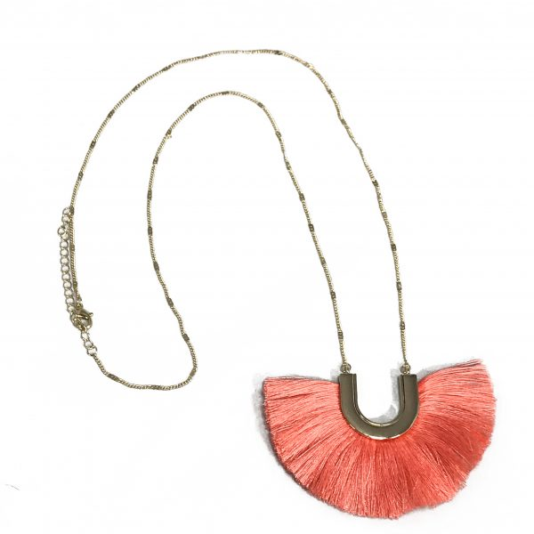 necklace, long necklace, fringe necklace, long fringe necklace, coral necklace, jewelry, jewelry subscription, jewelry subscription box