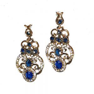 earrings, blue gold earrings, gold toned earrings, statement earrings, antique earrings, jewelry, jewelry subscription, jewelry subscription box